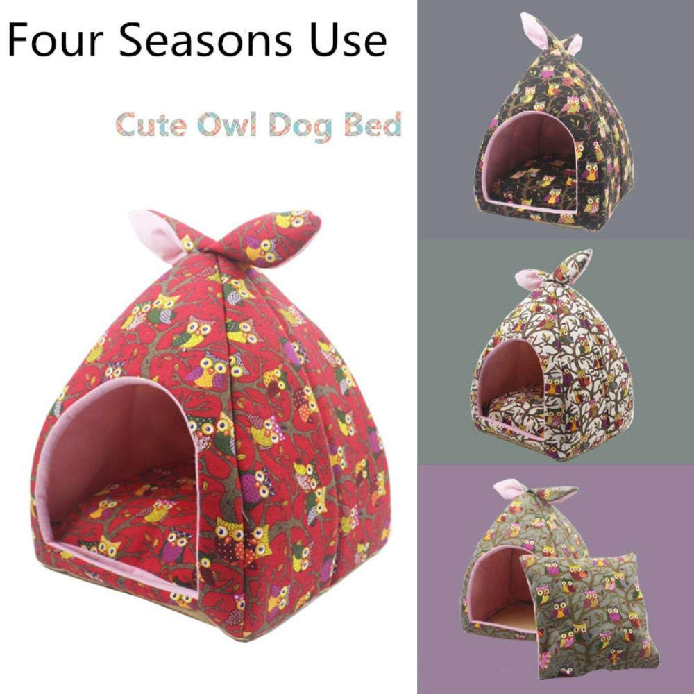 Amazon.com : Vivian Inc Cat Houses & Condos - Cat Nest Small Dog House Puppy Design Cartoon Owl Foldable Soft Warm Sleeping Bag Four Season Universal ...