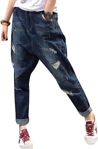 Youlee Mujeres Pantalones Harem Pantalones Vaqueros Rotos Con Bolsillos Amazon Es Ropa Y Accesorios