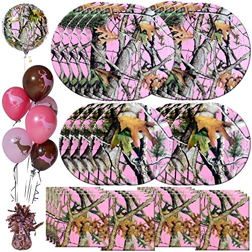 Havercamp Pink Camo Dinnerware Set | Dinner & Dessert Plates, Luncheon Napkins, Balloons, Balloon Weight | Great for Girls Birthday Bash, Baby Shower, Gender Reveal, Mother's Day]()