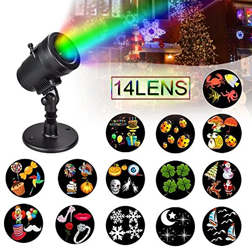 Price comparison product image Christmas Projector Lights Snowflake Spotlight LED Landscape Light Halloween Lamp 14 Pattern Lens for Decoration Lightning on Wedding Thanksgiving Valentine Birthday Holiday Party