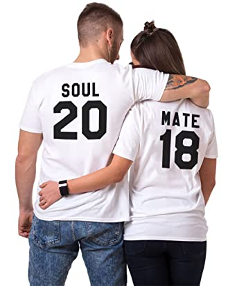 King Camiseta Pareja Queen Impresión Soulmate T-Shirt Couple Impresión Soulmate 100% Algodón para