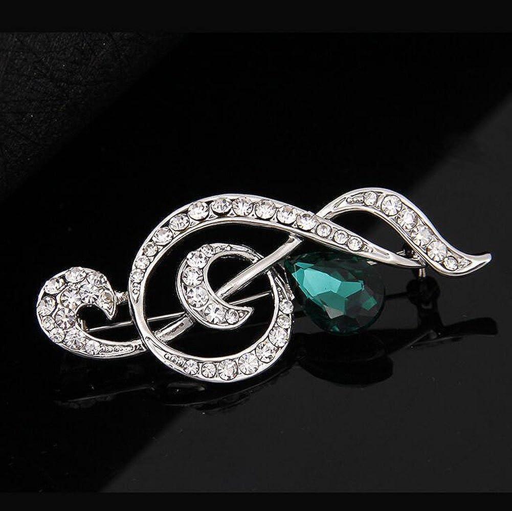Yodio Fashion Noble Musical Note Wedding Bride Diamond Brooch Pin Elegant Ladies Rhinestone Clothes Scarf Shawl Buckle Decorations