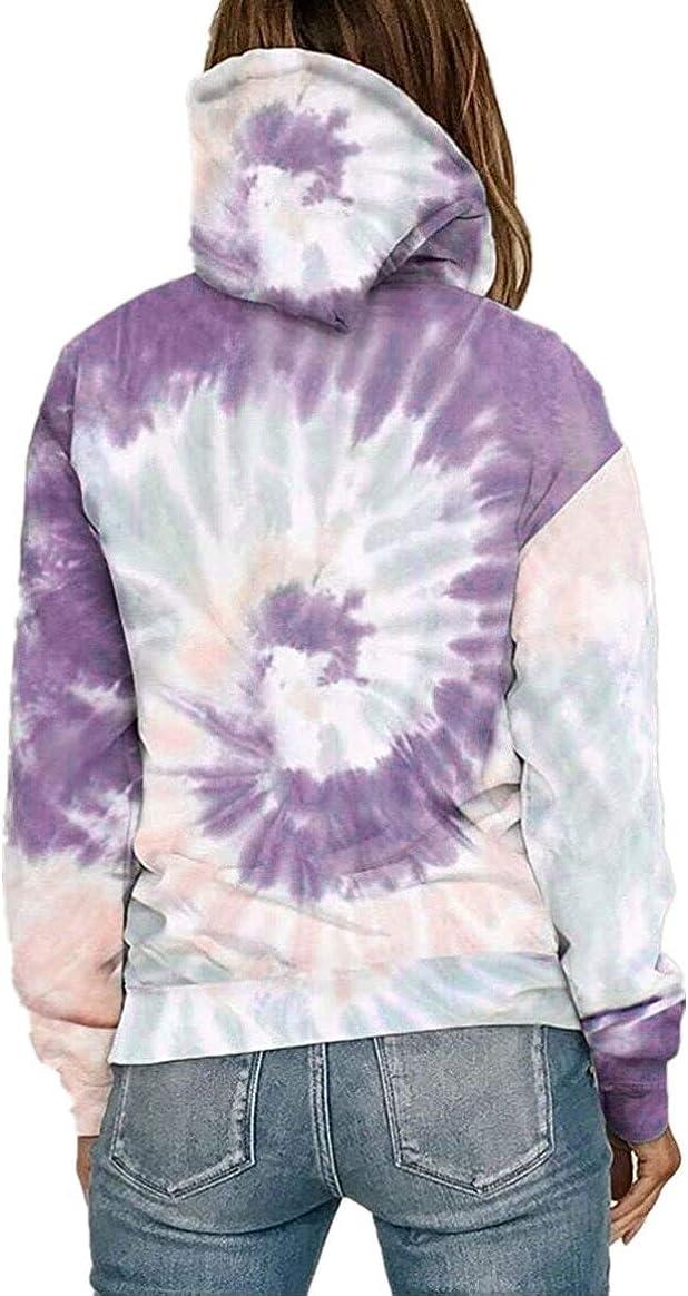 Fadalo Womens Tie Dye Print Sweatshirt Colorblock Long Sleeve Tops Shirt Fashion Casual Pullover Blouse