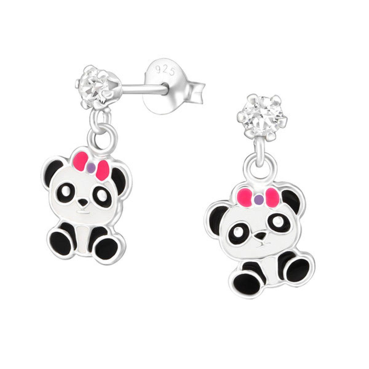 Cute Panda Bear Earrings Girls made with Swarovski Crystals and Sterling Silver 925 Nickle Free (32851)