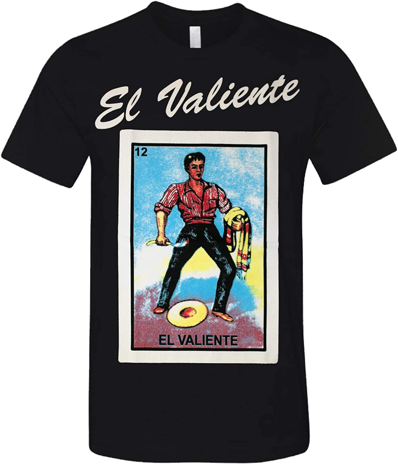 DOBY El Valiente Mexican Bingo Inspired Arts Printed Funny Adult Graphic T-Shirt Black X-Large