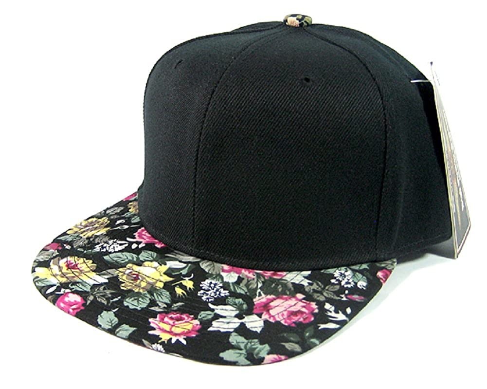 aa15208a66a Amazon.com  2 Tone Black Crown Flower Bill Snapback Hat Cap Floral Print   1  Clothing