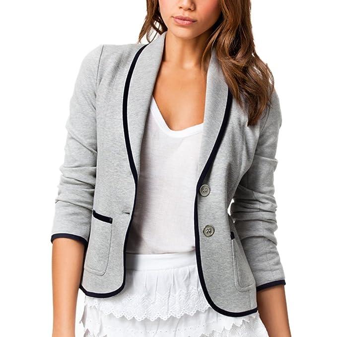 DELEY Mujeres Otoño Slim Fit Elegante Oficina Negocios Parte Superior Blusa Traje de Chaqueta Outwear: Amazon.es: Ropa y accesorios