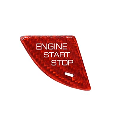 Red MissBlue Real Carbon Fiber Car Ignition Key Button Stickers for Cadillac Auto Engine Start Stop Button Cover Trim for Cadillac ATS Cadillac ATS-L