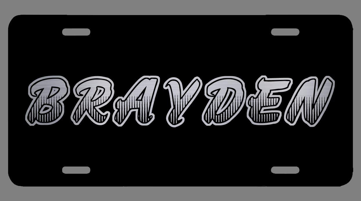Brayden Name Etched Style License Plate Tag Vanity Novelty Metal 6 By 12 inches