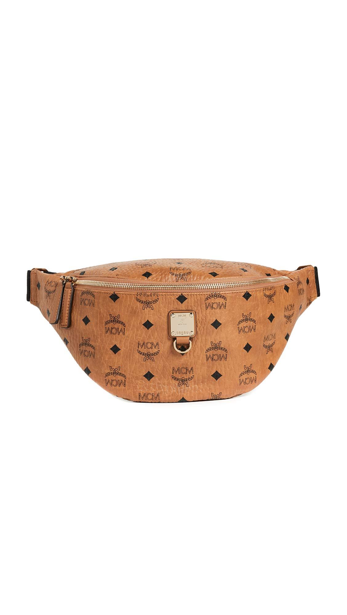 MCM Men's Fursten Visetos Medium Belt Bag, Cognac, Tan, Print, One Size