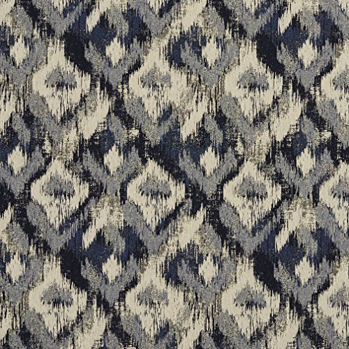 [F942 Navy Blue And Ivory Ikat Woven Abstract Unique Contemporary Upholstery Fabric By The Yard] (Incredibles Costumes Designer)