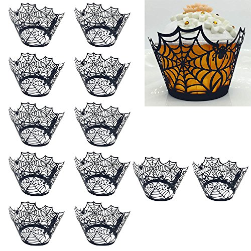 Kangkang@ 24 PCS Halloween Spiderweb Hollow Cupcake Ice Cream Wrapper Cup Cake Wrappers Liners Wedding Birthday Cake Decoration -