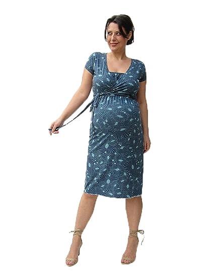 Maternidad y lactancia vestido, vestido de flores, color azul, Shortsleeve Dress, fácil