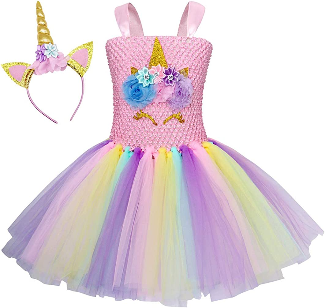 Edjude Girls Princess Unicorn Rainbow Flowers Tutu Dress with Headband Halloween Birthday Party Dressing up Dance Outfit for Baby Girls 2-12 Years