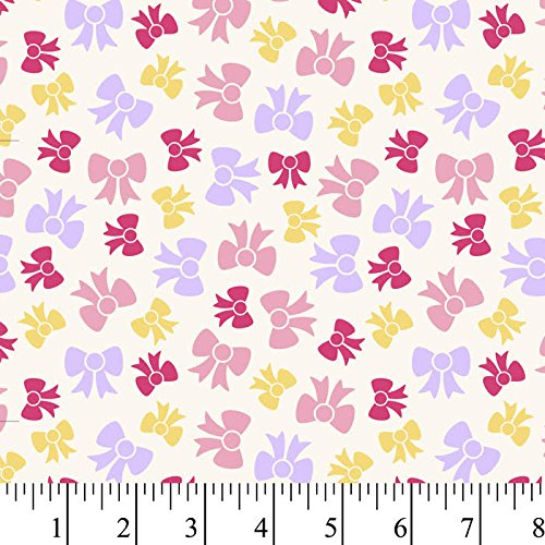 Prize Bows Cream Flannel Fabric By The Yard