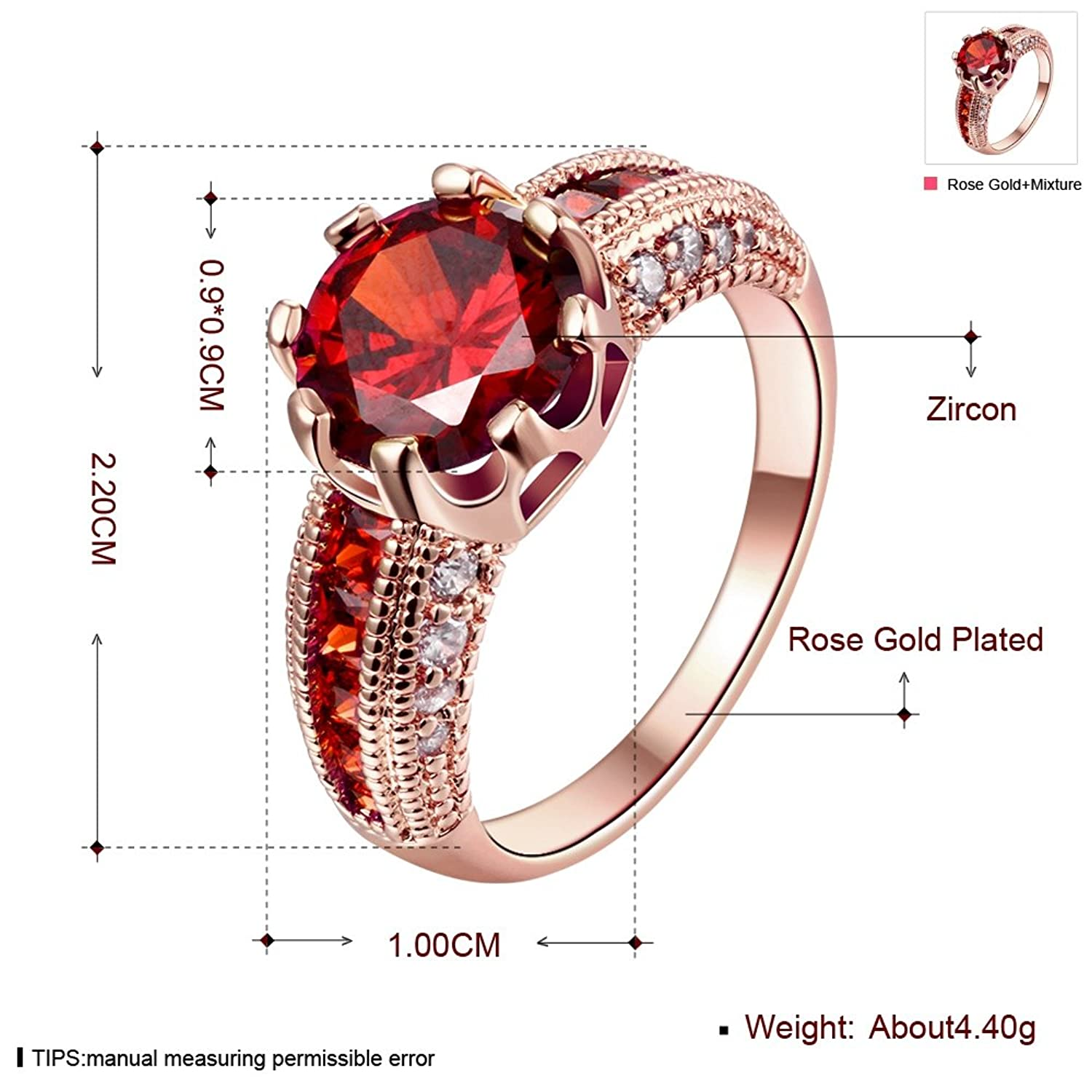 Amazon: Swarovski Clear Crystal Ruby Fashion Rings With 18k Rose Gold  Plated: Jewelry