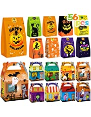 Halloween Treats Bags Party Favors - 56 Pcs Kids Halloween Candy Bags& Boxes Set - Incl 16 Candy Boxes and 40 Goodie Paper Bags, Trick or Treat Gift Cookies Goodie Bags for Halloween Party Supplies