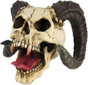 PTC 10.5 Inch Evil Ram Horned Skull with Tongue Out Figurine Statue