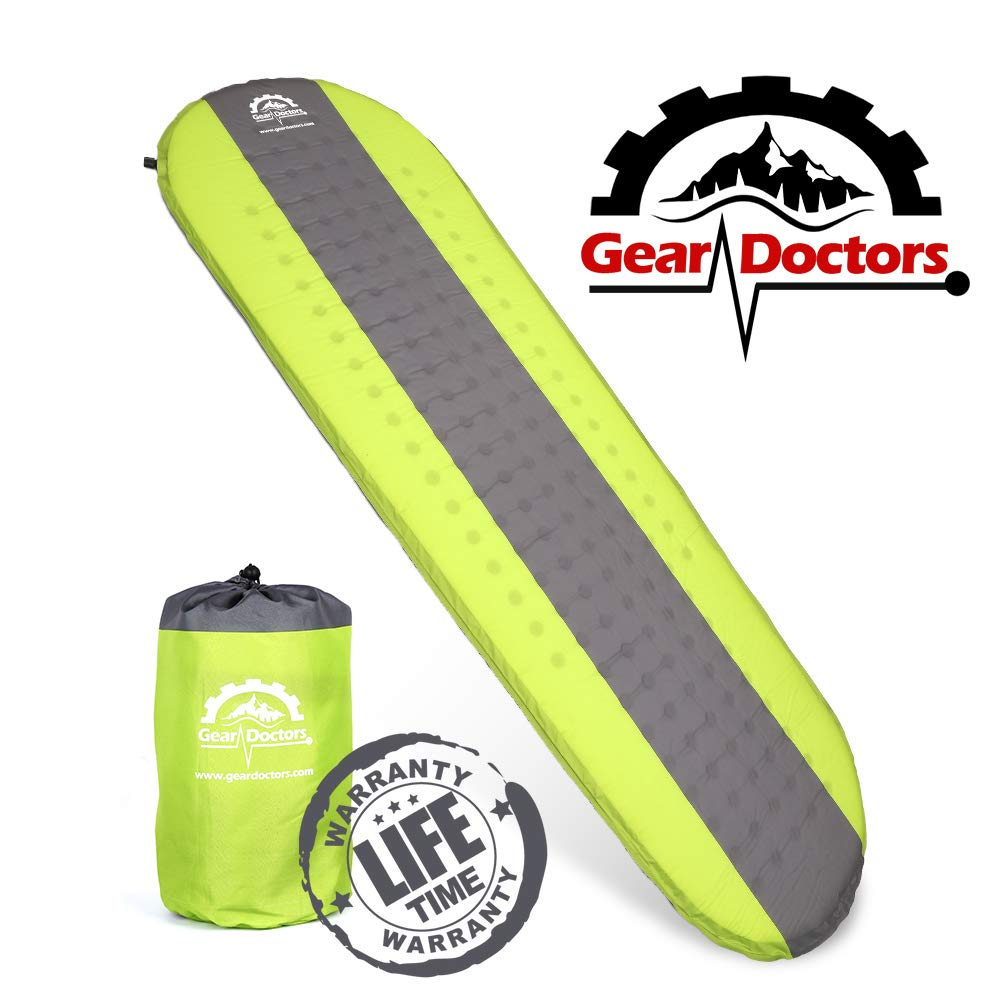 Gear Doctors- Self Inflating Camping Sleeping Pad - 4.3 R-Value Lightweight Foam Filling 1.5-inch Thick Mat Perfect Size Mattress for Camping Backpacking Travel with Insulation for Cold Winters by Gear Doctors