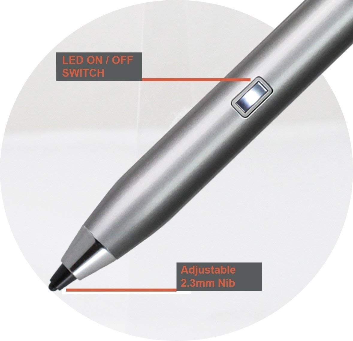 Broonel Silver Fine Point Digital Active Stylus Pen Compatible with The Acer Chromebook 512 C851 C851T