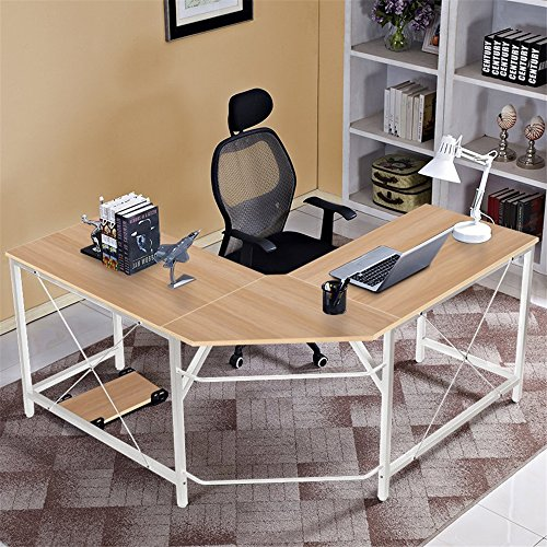 DlandHome L-Shaped Computer Desk 59″+59″, Composite Wood & Metal, Home Office PC Laptop Study Workstation Corner Table with CPU Stand, ZJ02-OW Oak & White Legs, 1 Pack