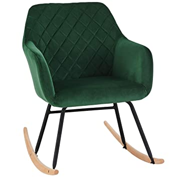 super popular 1dfcd 5ab15 Duhome Rocking Chair Dark Green Fabric Velvet Rocker Retro Design Relax  Chair Armchair with Metal and Wood Legs Colour Selection 8026Y