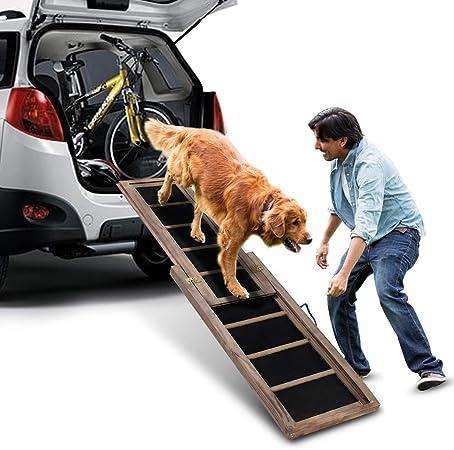 COSTWAY Perro rampas escaleras para Perros para Coche de Madera Extensible y Antideslizante, Capacidad de Carga de hasta 100 kg, 166 x 43 cm: Amazon.es: Productos para mascotas