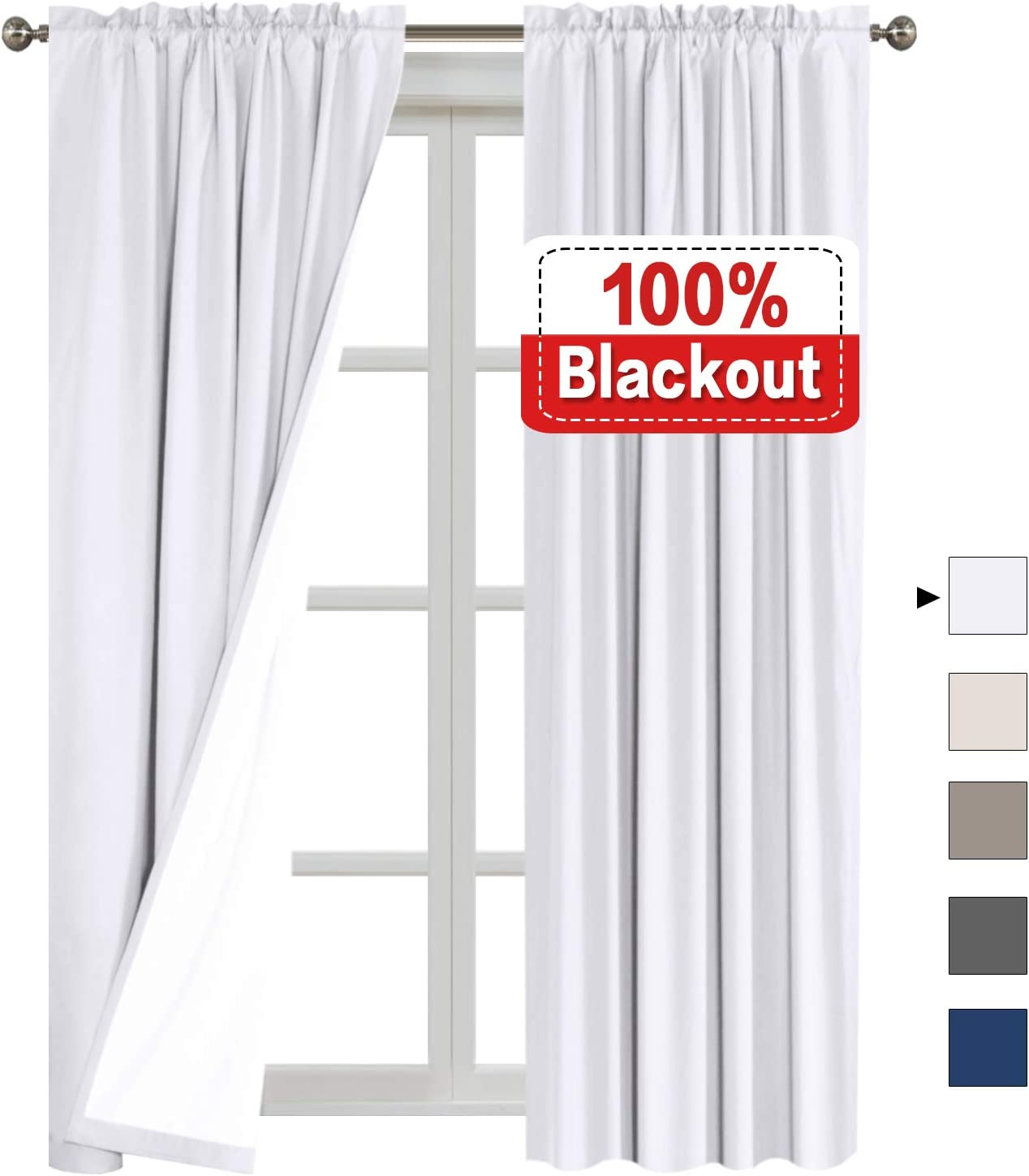 Navy Flamingo P 100/% Light Blocking Drapes Water Repellent Curtains with White Backing for Bedroom 63 inch Long Rod Pocket Window Treatment 2 Panels 2 Bonus Tie-Backs
