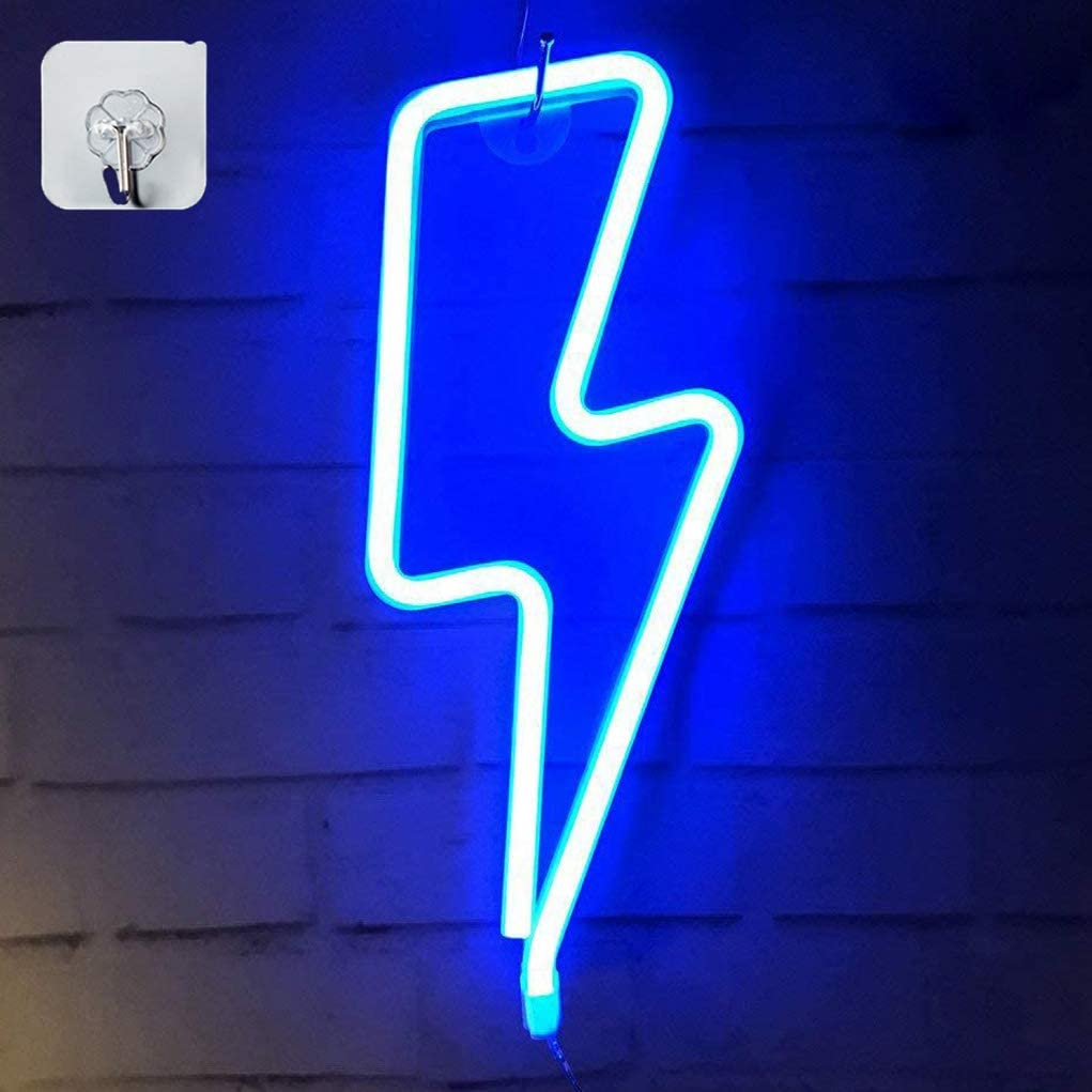 XIYUNTE Blue Neon Light Lightning Bolt Led Neon Sign Wall Light Battery and USB Operated Neon Lights Blue Lightning Neon Signs Light up for The Home,Kids Room,Bar,Party,Christmas,Wedding