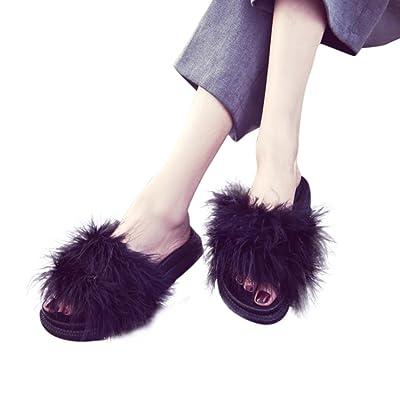Sandals Slippers, Qingfan Fashion Women and Men's Casual Flip Flop Faux Fur Slide Slip On Flats Shoes