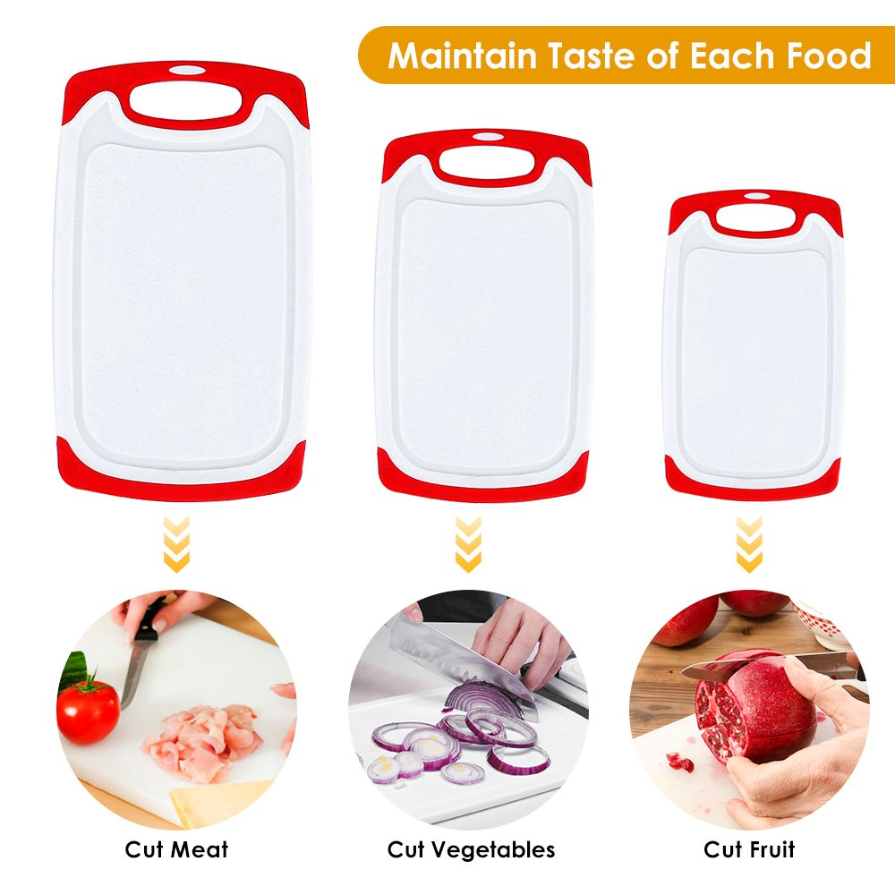 Plastic Cutting Board, 3 Packs Chopping Board with Food Grade PP Anti-Microbial and Deep Drip Juice Groove for Kitchen Tool-Red by JOSHNESE (Image #2)