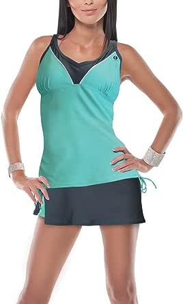 Womens Sports Tankini Swimsuit Set Top and Skirt Bottom Two Piece Swimwear Set Modest Bathing Suits