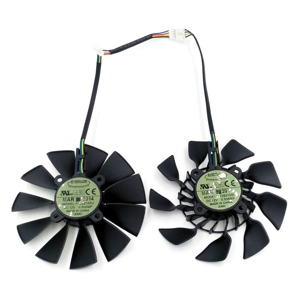2 Pcs/lot T129215SU 12V 0.5A 95mm 5 Pin Replacement Cooling Fan For GTX780/ 780TI R9 280/280X 290/290X GTX970/980 Graphics Card Fan
