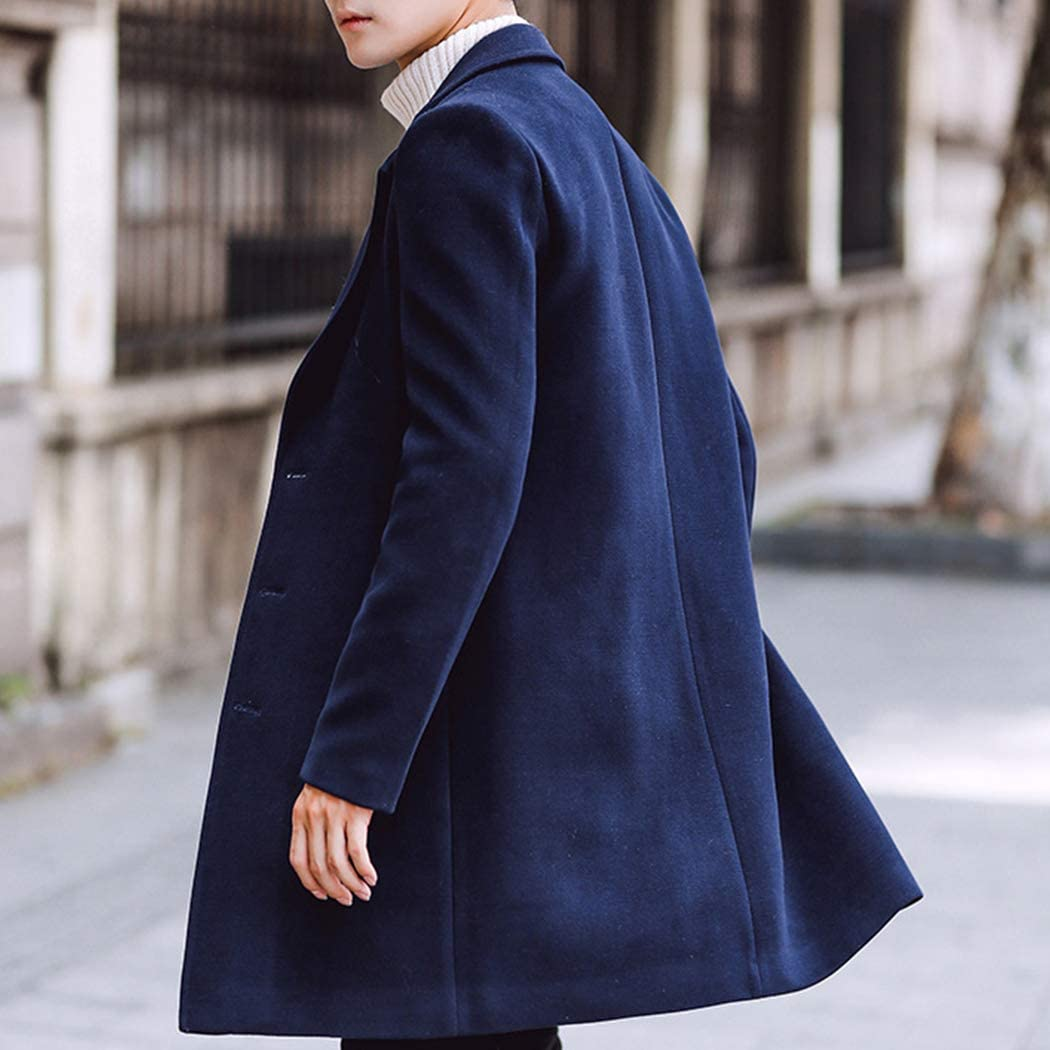 Raylans Mens Solid Trench Coat Long Cotton Blend Slim Fit Jacket Overcoat