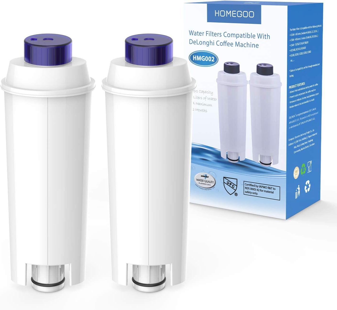 Filtro de Agua para Cafetera DeLonghi Filtro DLSC002 con Ablandador de Carbón Activado, Homegoo Filtro Compatible con De'Longhi ECAM, Esam, Etam, BCO, EC. (Paquete de 2)