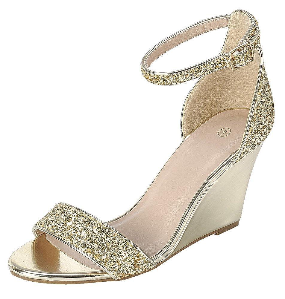 Women's Gold Glitter Open Toe Strappy Ankle Buckle Band Dress Wedge Sandal