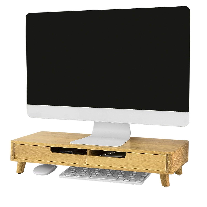 SoBuy/® BBF06-N Support de Moniteur /Écran Ergonomique Support pour /Écran dordinateur Universal Ordinateur Portable ou /écran TV R/éhausseur d/écran en Bambou