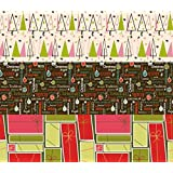 K-Kraft Vintage Prints Christmas Mid Century Modern Christmas Wrapping Paper on White Kraft - 30 inches x 180 inches per roll = 112.5 square feet total