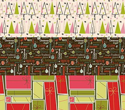 Vintage Christmas Wrapping Paper (K-Kraft Vintage Prints Christmas Mid Century Modern Christmas Wrapping Paper on White Kraft - 30 inches x 180 inches per roll = 112.5 square feet total)