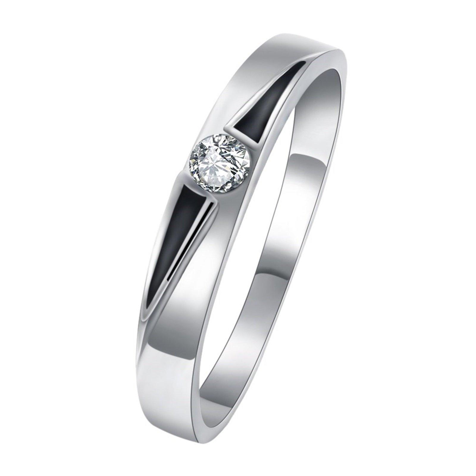 Epinki Women Round Cubic Zirconia Cz Diamond Eternity Engagement Wedding Band Ring Size 8 Men Accessories