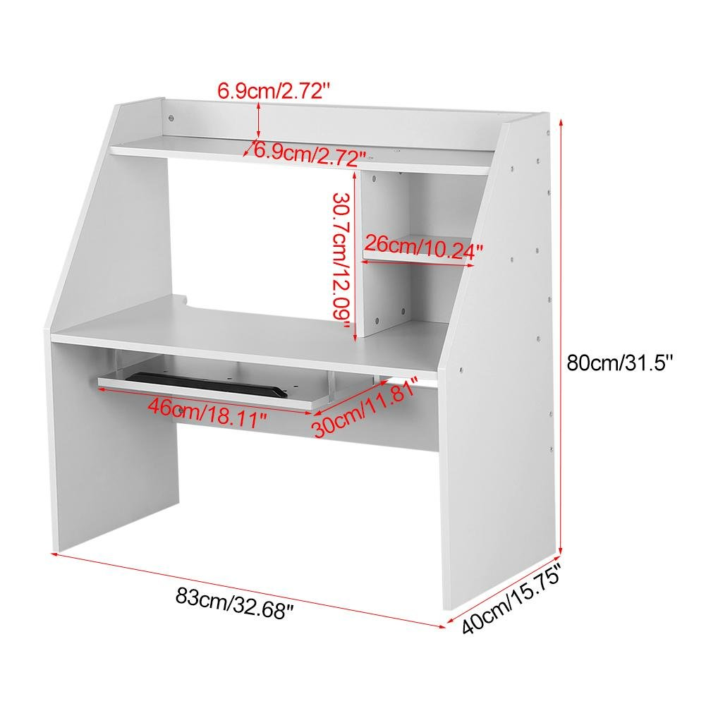 Dwawoo Wooden Storage Shelf, Multifunction Bed Computer Laptop Desk Bed Table for Dormitory Bedroom and More(White) by Dwawoo (Image #3)