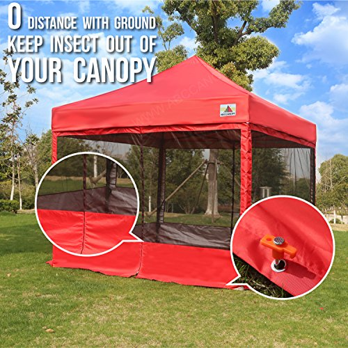 ABCCANOPY 10×10 Pop up Canopy Tent Party Tent with Netting Commercial Instant Gazebo with Screen Walls Red