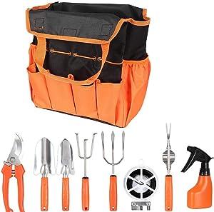 YAFEI Garden Tools, 9-Piece Stainless Steel Hand Tool kit, Garden Canvas Apron with Storage Bag, Outdoor Tools, Heavy Garden Tool kit with Ergonomic Handle, Women's Garden Tool