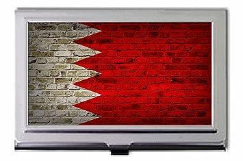 Drapeau De Bahrein Motif Mur Briques Porte Cartes Visite