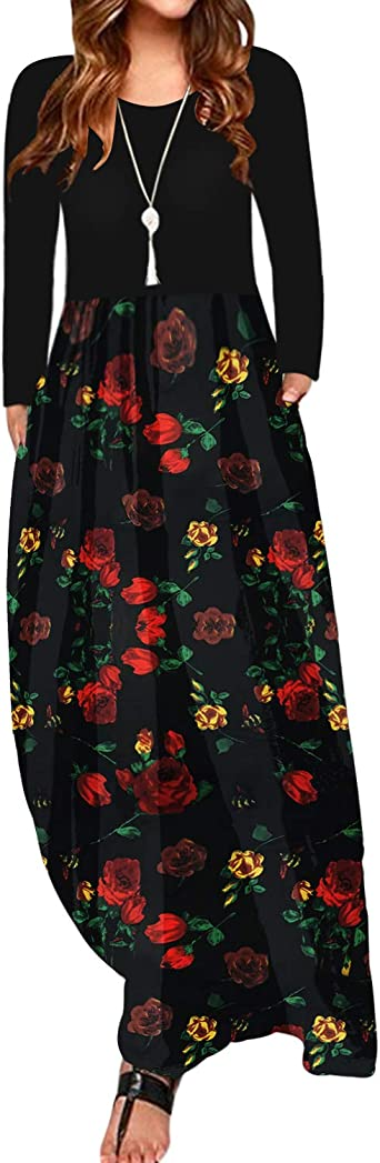 con estilo vintage de manga larga ZANZEA Vestido largo y holgado de mujer con bolsillos con estampado floral de rosas