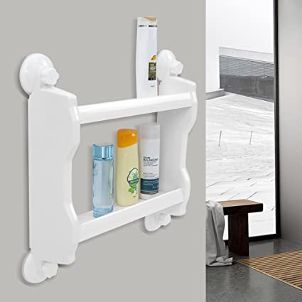 Bathroom Kitchen Wall Storage Rack, Double Tier Strong Suction Cup Wall  mount Holder Organizer Shelf For Home Kitchen (White)