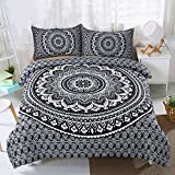 Koongso 3 Pcs Bohemian Bedding Boho Bedding Crystal Arrays Bedding Quilt Bedspread Mandala Hippie Duvet Cover Set (Full Black)