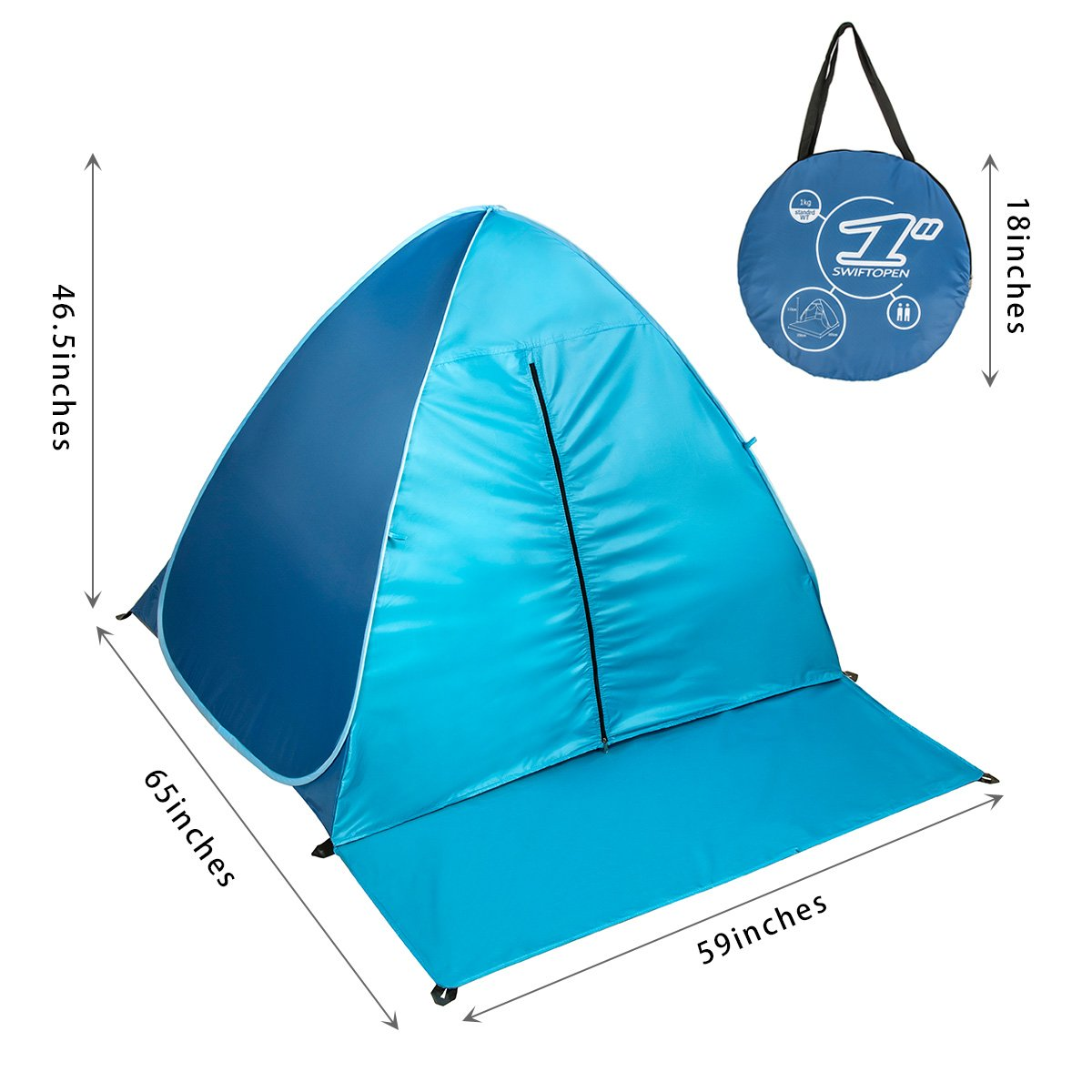 With Zipper Door Pop Up Canopy Portable Beach Tent Outdoor Anti UV Beach Shade Tent Sun Shelter, Automatic Instant Family Cabana for Camping Beach