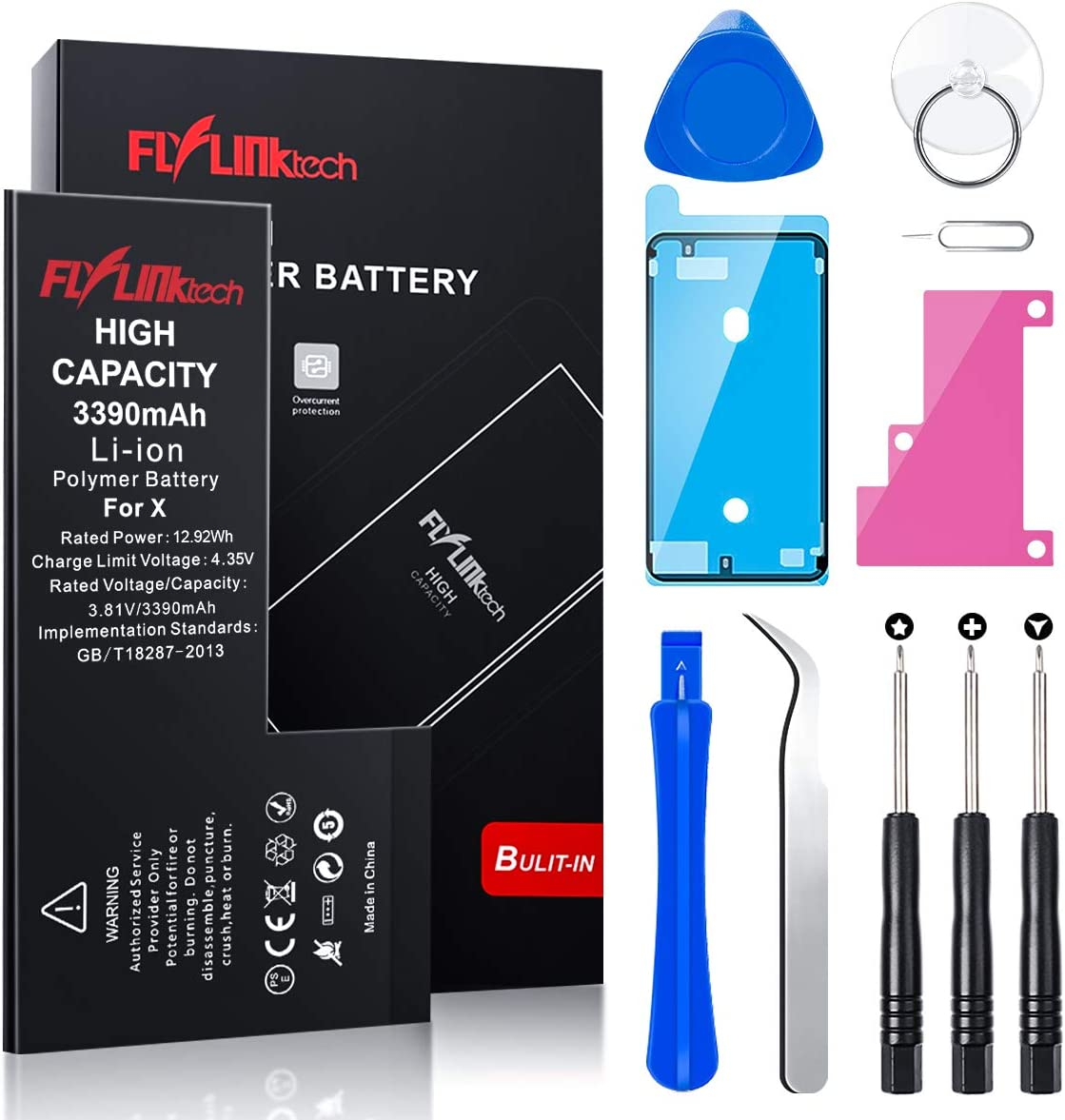 Flylinktech Battery for iPhone X 3390mAh High Capacity Li-ion Polymer fit iPhone X Battery with All Repair Replacement Kit Tools
