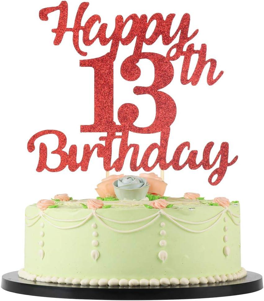 Cool Amazon Com Lveud 13Th Birthday Cake Topper For Happy Birthday Funny Birthday Cards Online Elaedamsfinfo